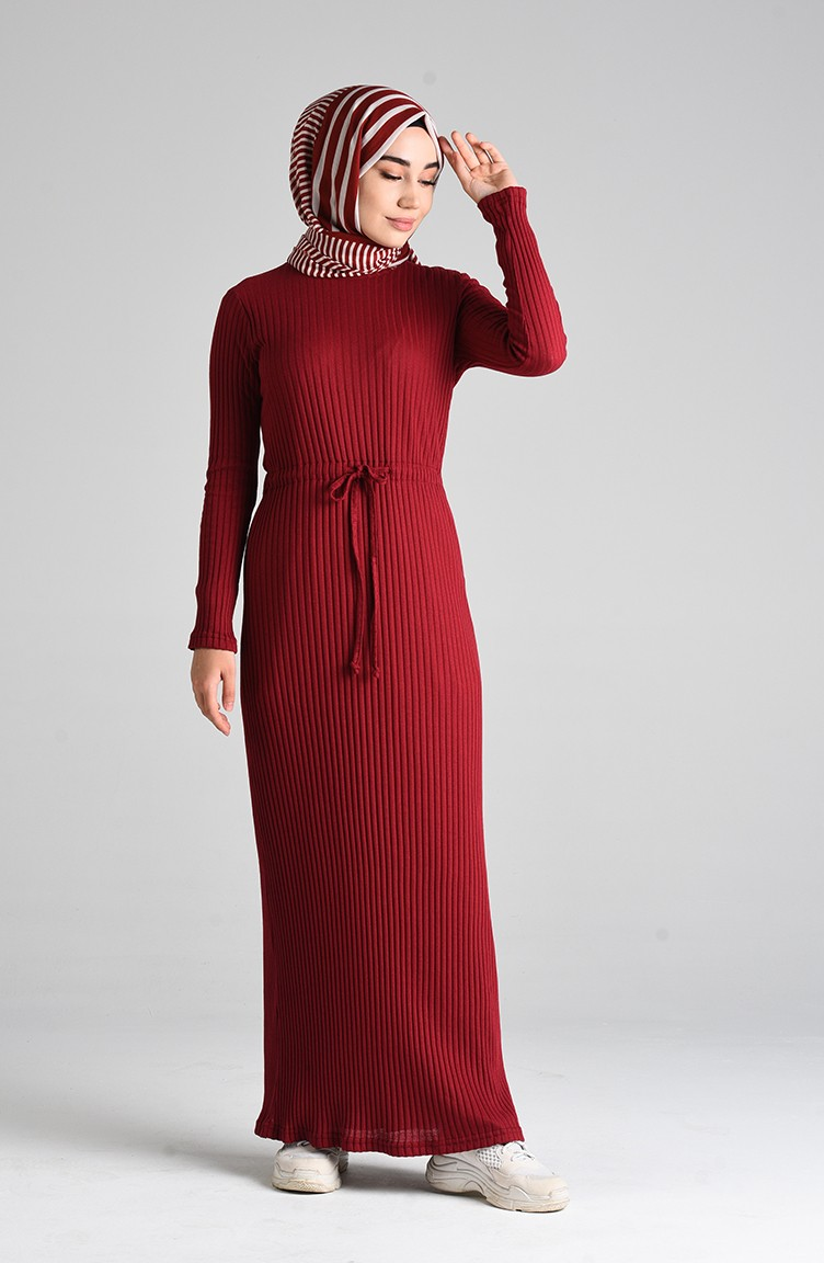 sefamerve tunik tbnr3187 06 5424031593778770694 1 Claret red Dress 3187-06