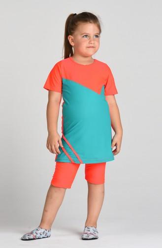 Çocuk Havuz Mayo 0112-12 Neon Pembe Çağla Yeşili