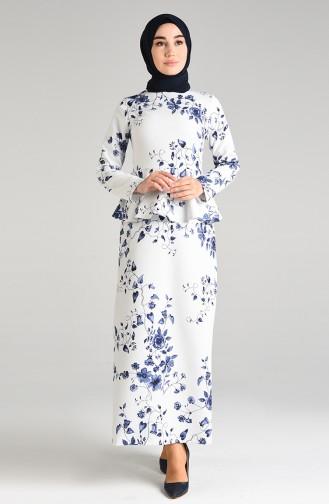 Weiß Hijap Kleider 3001C-01