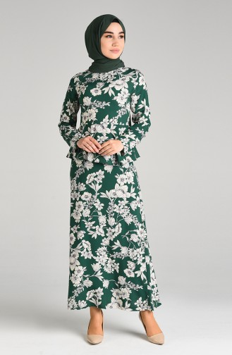 Smaragdgrün Hijap Kleider 3001D-01