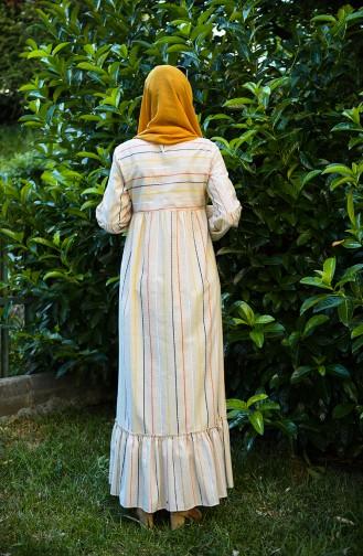 Maske Hediyeli Keten Elbise 1400-02 Bej