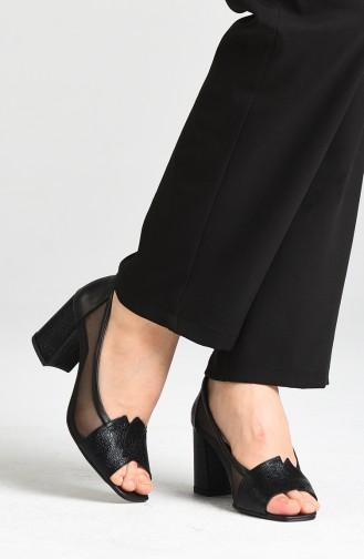 Bayan File Detaylı Ayakkabı 1403-01 Siyah Cilt