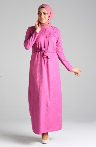 Jacquard Belted Dress 6473-06 Dried Rose 6473-06