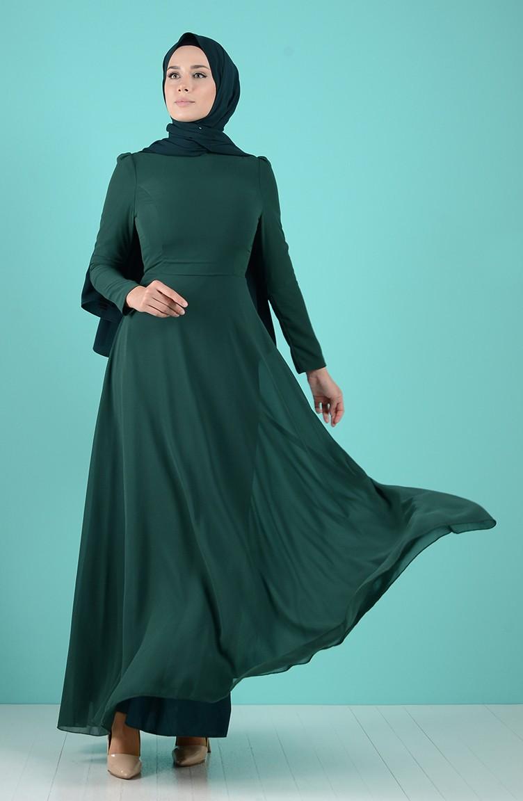 Smaragdgrün Hijap Kleider 18-18