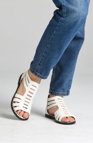 Bayan Sandalet 0010-07 Beyaz Sim