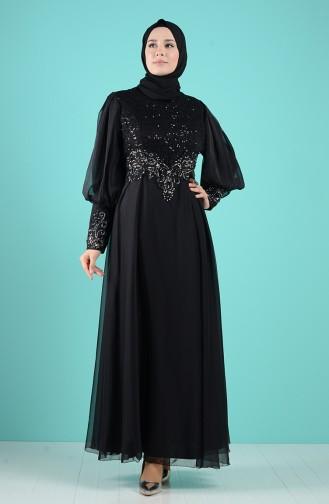Schwarz Hijab-Abendkleider 52776-02