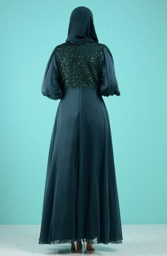 Payet Detaylı Abiye Elbise 52776-06 Yeşil