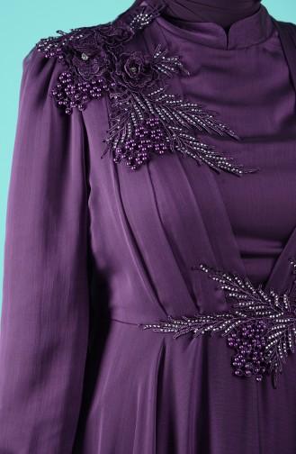 Guipure Detailed Evening Dress 52780-03 Purple 52780-03