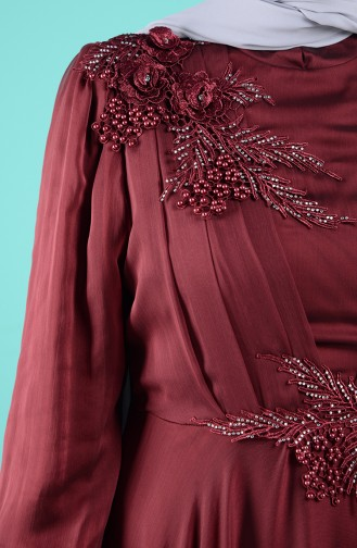 Claret red Islamic Clothing Evening Dress 52780-04