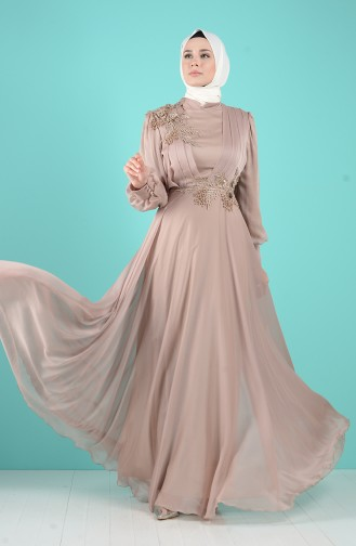 Güpür Detaylı Abiye Elbise 52780-05 Vizon