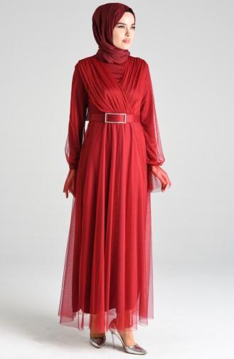 Claret red İslamitische Avondjurk 4105-03