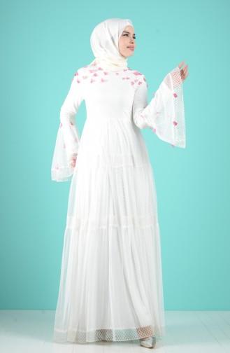 Naturfarbe Hijab-Abendkleider 12001-01