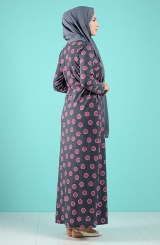 Desenli Kuşaklı Elbise 5709B-01 Antrasit