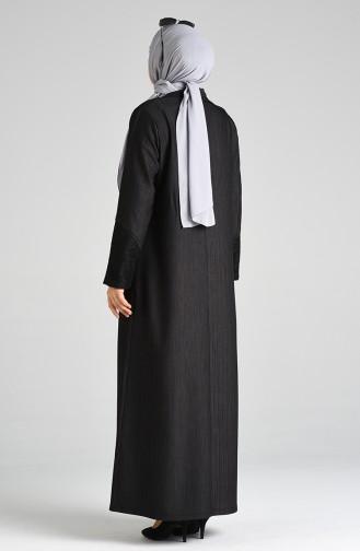 Büyük Beden Fermuarlı Ferace 8374-02 Siyah