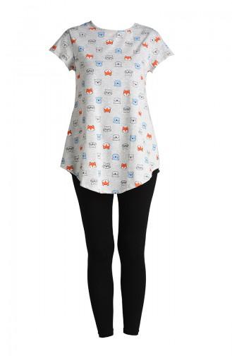 Pamuklu Pijama Tayt Takım 5119-01 Gri Siyah