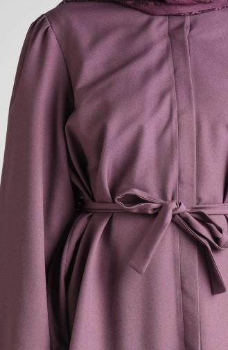 Kuşaklı Tunik Pantolon İkili Takım 0285-02 Koyu Lila