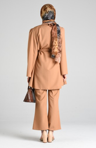 Belted Tunic Trousers Double Suit 0285-03 Caramel 0285-03