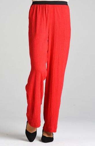 Lastikli Bol Paça Pantolon 1056-01 Kırmızı