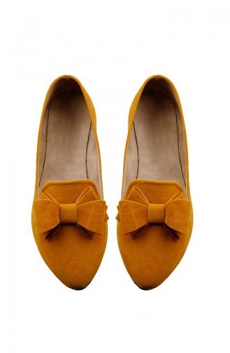 Safran-Farbe Damen Ballerinas 0126-11