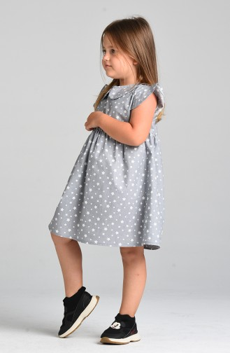 Patterned Children s Dress 4604-02 Gray 4604-02
