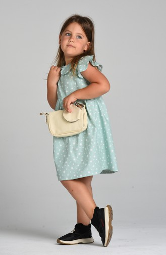 Desenli Çocuk Elbisesi 4604-03 Mint Yeşili