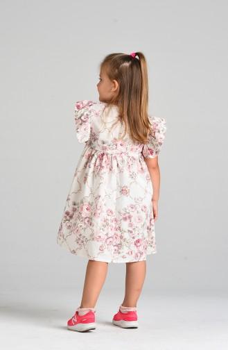 Patterned Children s Dress 4645-01 Ecru Powder 4645-01