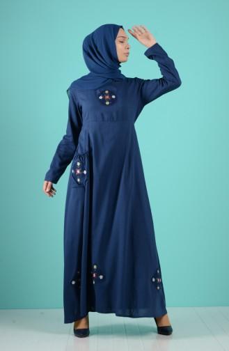 Navy Blue İslamitische Jurk 6565-02