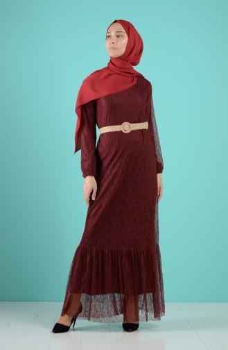 Weinrot Hijap Kleider 4467-01