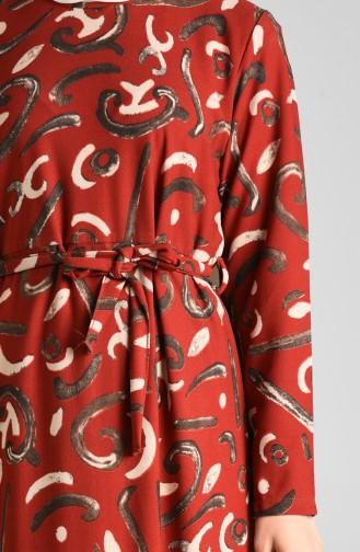 Desenli Kuşaklı Elbise 5709A-03 Kiremit