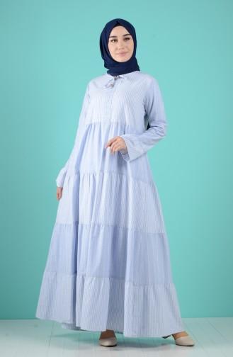 Robe Hijab Bleu Bébé 8063-04