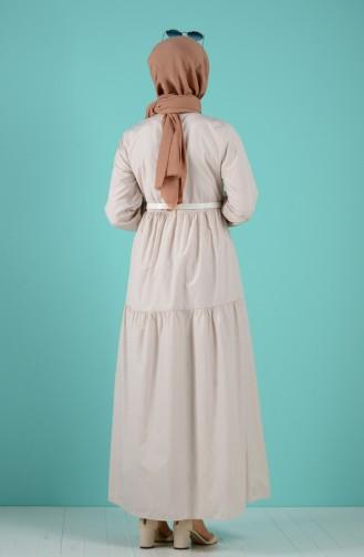 Beige Hijap Kleider 8077-01