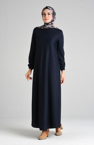 Kolu Lastikli Elbise 1907-11 Lacivert