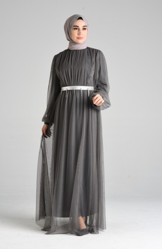 Dark gray İslamitische Avondjurk 4106-02
