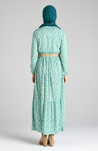 Grün Hijap Kleider 0376-01