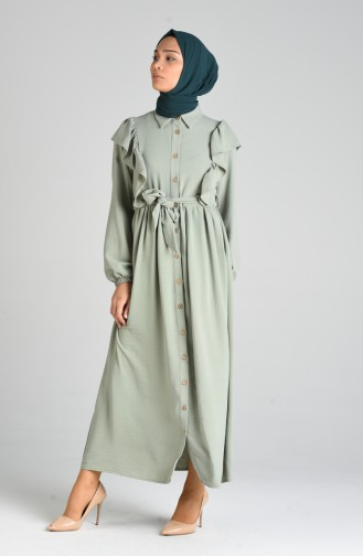 Buttoned Frilly Dress 0374-01 Sea Green 0374-01