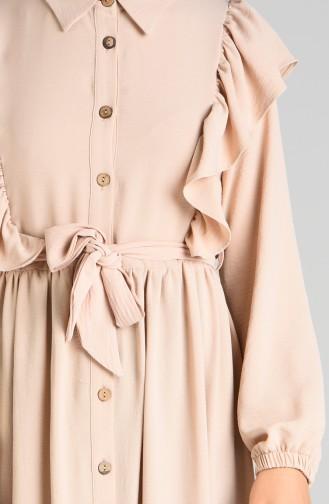 Buttoned Ruffled Dress 0374-03 Stone 0374-03