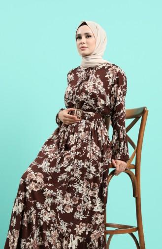 Viskon Çiçek Desenli Kemerli Elbise 4540-04 Kahverengi