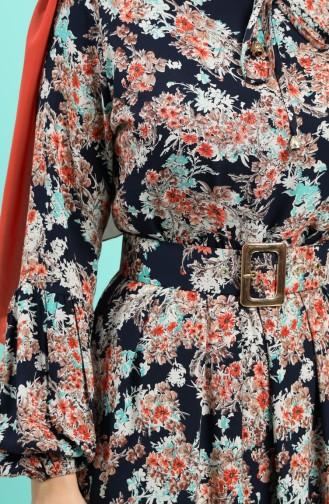 Viskon Çiçek Desenli Kemerli Elbise 4541-02 Lacivert