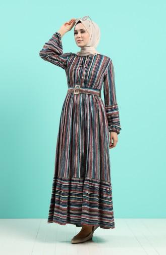 Viskon Çizgili Kemerli Elbise 4546-02 Turkuaz