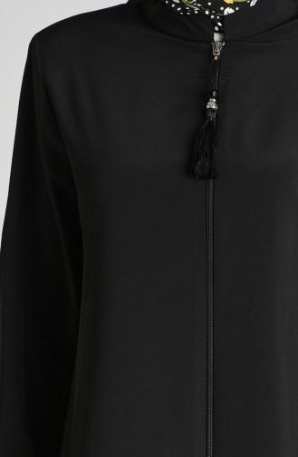 Fermuarlı Ferace 2025A-01 Siyah
