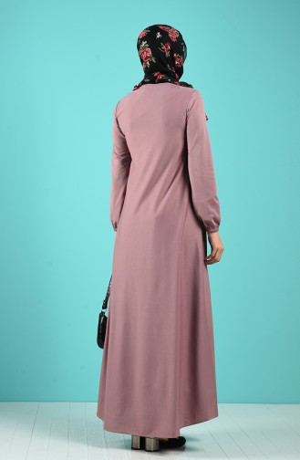Beige-Rose Hijab-Abendkleider 1907-06