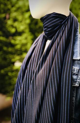 Desenli Pamuk Şal 54260-01 Siyah Mavi