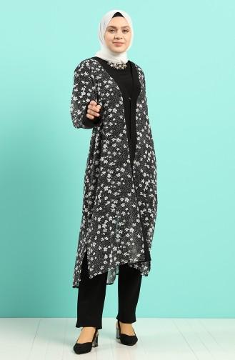 Büyük Beden Tunik Ceket İkili Takım 8002-01 Siyah