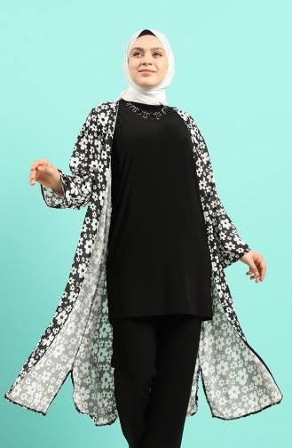 Büyük Beden Bluz Abaya İkili Takım 8010-01 Siyah Beyaz