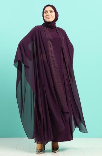 Büyük Beden Taş Baskılı Elbise Abaya İkili Takım 8016-04 Mor