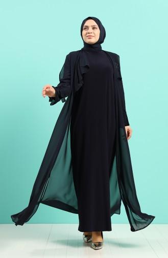 Büyük Beden Taş Baskılı Elbise Abaya İkili Takım 8019-03 Lacivert