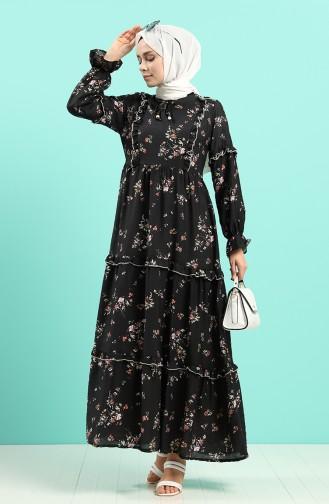 فساتين سهرة بتصميم اسلامي أسود 8068-02