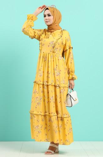 Habillé Hijab Moutarde 8068-05