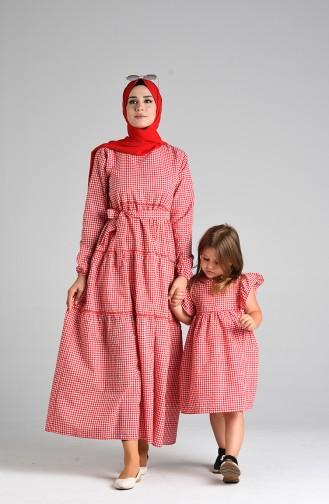 Kareli Anne Kız Kombin Elbise 4605-03 Kırmızı
