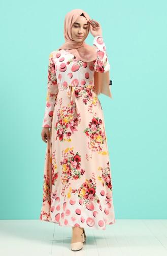 Viskon Desenli Elbise 20Y3034302-01 Pudra